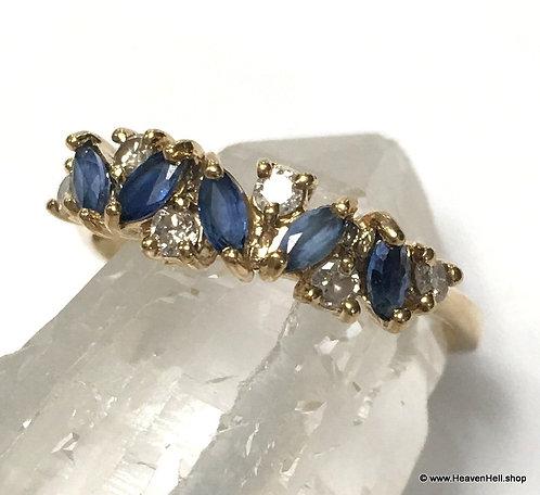 Vintage 14k Gold Ring Ceylon Sapphire & Diamond Ring Band Ring Size 8.25