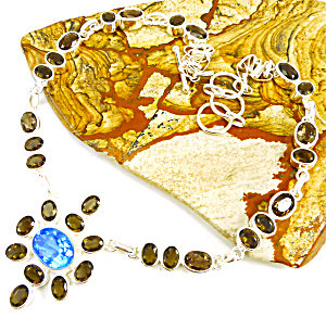 Smoky & Blue Topaz Multi-gemstone Sterling Silver Necklace
