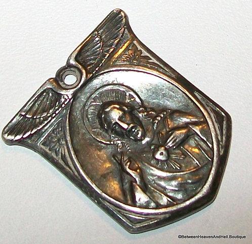Art Deco Vintage Sterling Silver Sacred Heart Jesus Scapular Medal Virgin Mary