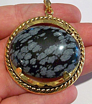 Huge Snowflake Obsidian Pendant: Yellow Gold Aura Jewelry