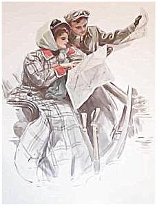 Antique Print Harrison Fisher Lost: Art Nouveau Car Romance