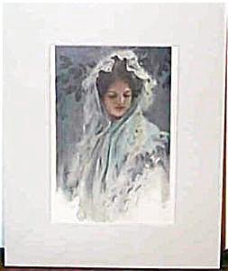 Vintage Harrison Fisher Print Victorian Lady Head Scarf, Veil