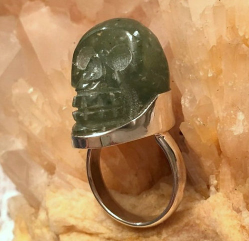 ACTIVATED Sterling Silver Nephrite Jade Skull Ring BLESSES Those Who Touch it