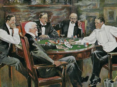 Antique Art Vintage Poker Card Game Print Clarence Underwood Artwork