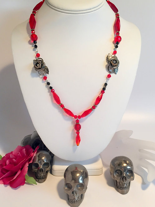 Sexy Gothic Rose Vampire Necklace w/ Upcycled Antique Red Czech Glass Beads