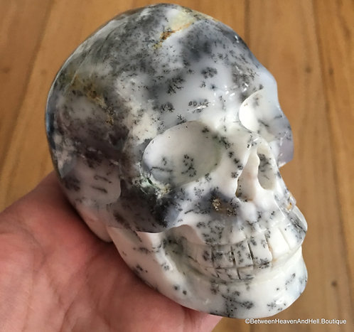 "Large 4.1"" Activated Merlinite Skull Dendritic Opal Dendritic Agate Skull"