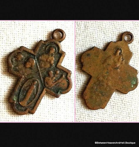 Antique 4 Way Bronze Cross Miraculous Medal St. Joseph Christopher Sacred Heart