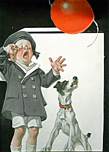 Victorian Scrapbook Page Prints Boy And Puppy Dog