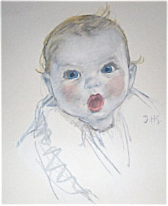 Hand Colored Lithograph Print Dorothy Hope Smith Gerber Baby
