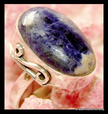 Blue Sodalite Ring Sterling Silver Gemstone Jewelry Spirituality, Peace, Balance