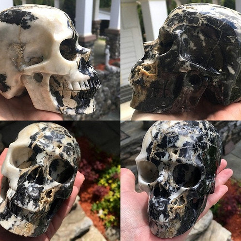 Large Dramatic White & Black Jasper Crystal Skull - Divine Protection