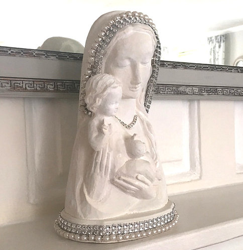 Up-cycled Vintage Plaster Rhinestone Pearl Shabby White Madonna And Child Statue