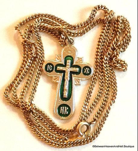 Vintage Green Enamel Crucifix Cross 12k Gf Necklace Men Ladies