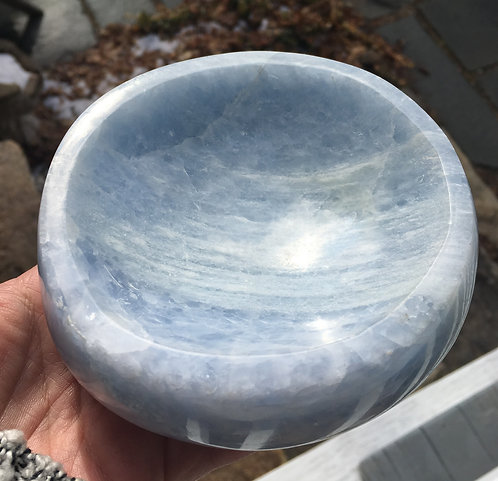 "5"" Large Blue Calcite Bowl Crystal Healing, Automatic Writing, Lemurian Energy"
