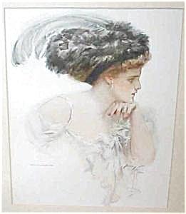 Antique Harrison Fisher Print Ladies Fashion Big Feather Hat