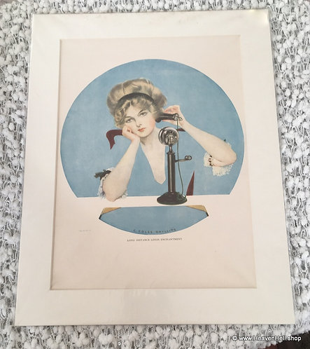 Vintage Coles Phillips Fade Away Girl in Blue On the Telephone 1911