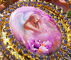 Purple Lavender Angel Choker Necklace Earrings Rhinestone Set