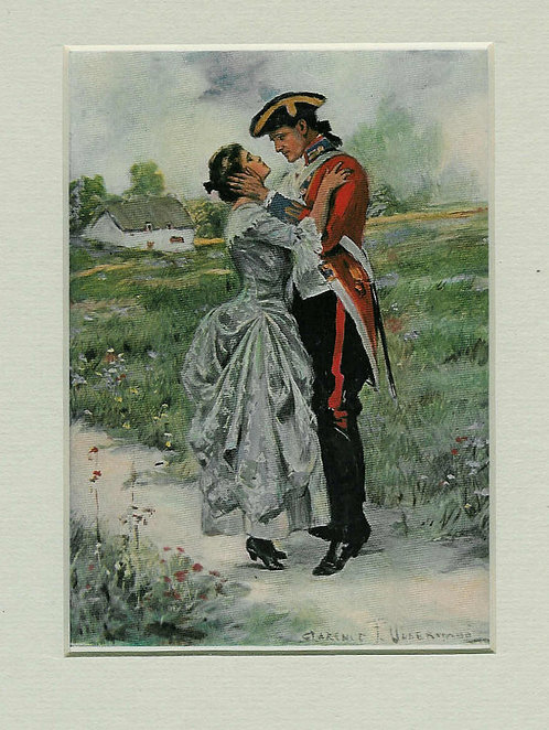 Antique Art Colonial War Romance Print: 1907 Clarence Underwood