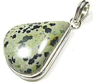 Dalmatian Jasper Pendant Gemstone Sterling Silver Jewelry