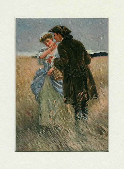 Antique Art Print Colonial Romance: Farm: Clarence Underwood Early 1900's
