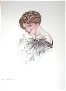 Lady & White Kitten: Antique Cat Art Prints Harrison Fisher