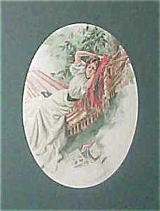 Antique Art Print Beautiful Lady In Hammock Harrison Fisher