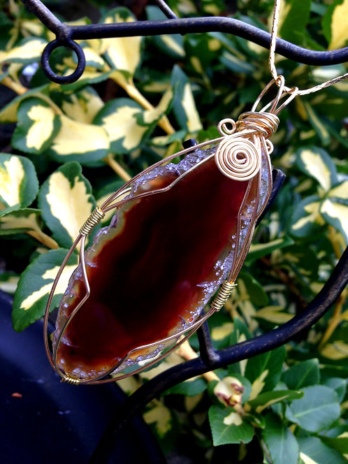 "4.4"" Elegant Wire Wrapped Agate Slice Pendant"