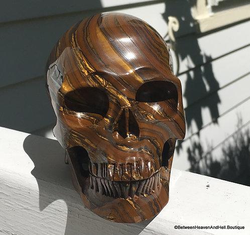 Large Mystical Tiger Eye Crystal Skull Manifestation Power Metaphysical Crystals