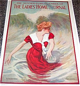 1909 vintage Ladies Home Journal Cover: Beach Fashion: Swim Dress Beachy decor