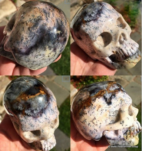 "3.75"" Activated Purple Dendritic Opal Skull Pink Black White SoUL Healing"