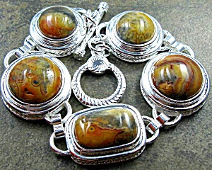 Large Chunky Crazy Lace Agate Bracelet Sterling Silver Jewelry