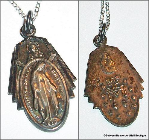 Vintage Sterling Silver Scapular Miraculous Medal Catholic Necklace