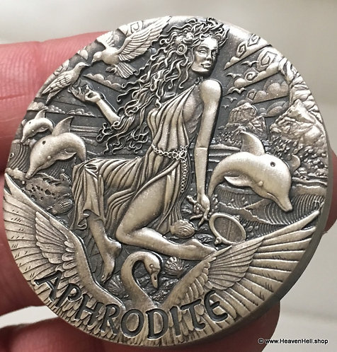 2015 Goddesses of Olympus Aphrodite 2 Oz 999 Silver Coin Dolphins w/COA 377/2000