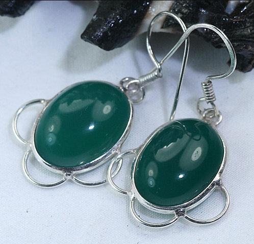 Tsavorite Green Garnet Drop Earrings Sterling Silver
