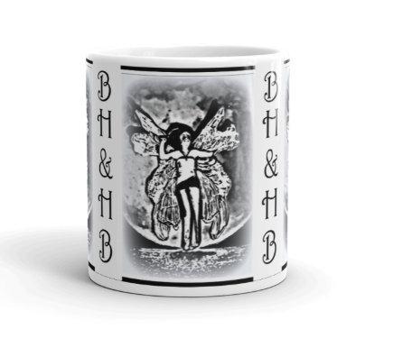 Black & White Sexy Art Deco Moonlight Fairy Coffee Mug BOHO Chic Kitchen Decor