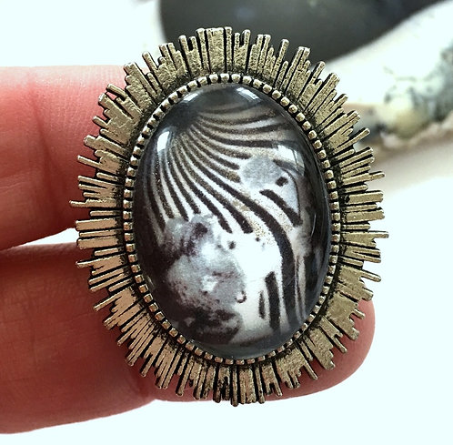 Large Black & White Altered Art Deco Lady Statement Ring Boho Chic Jewelry