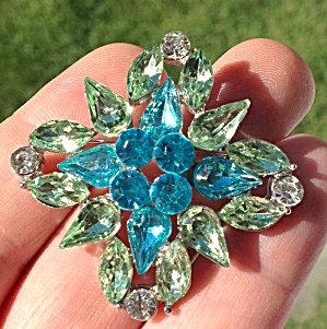 Costume Jewelry: Green Blue Rhinestone Brooch Pin