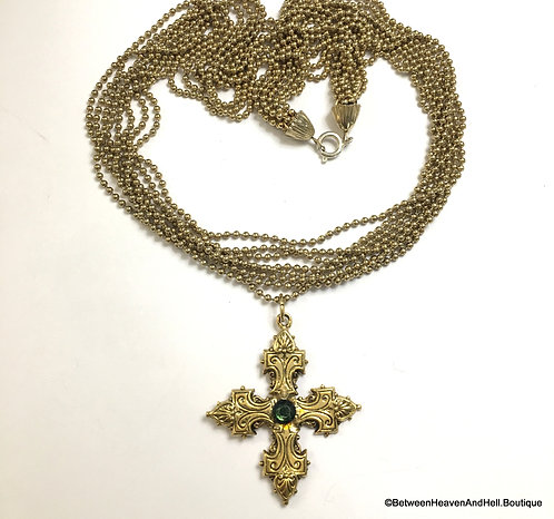 Maltese Cross Multi Strand Necklace Vintage Rhinestone Pendant, Boho jewelry