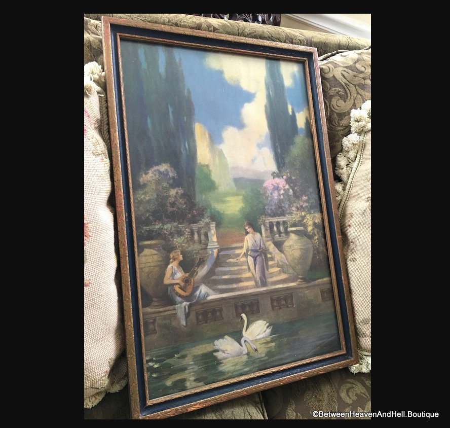 Antique Art Deco 1920 S Framed Print Ladies Swans Garden R A Fox Style Betweenheavenandhell
