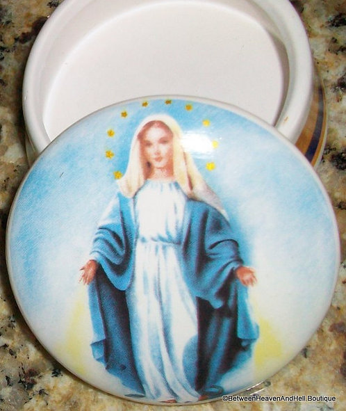 Ceramic Virgin Mary Rosary Box Our Lady Of Grace Miraculous medal Mother Mary