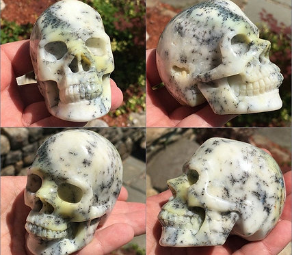 """3"""" Rare Activated Dendritic Agate Opal Crystal Skull - Karma Clearing, Good Luck"""