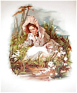 Antique Victorian Prints: Girl In Bonnet, Germany