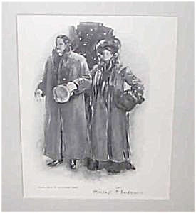 Clarence Underwood Victorian Print: Couple Walking In Snow