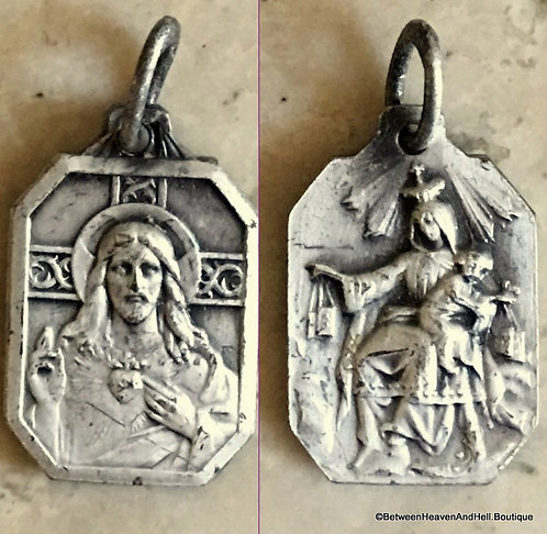 Small Antique .800 Silver Scapular Medal Sterling Catholic Charm Pendant