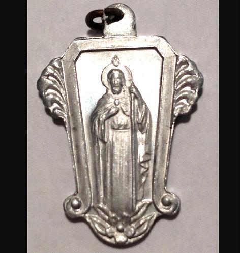 Catholic Religious Jewelry: Vintage Saint Jude Holy Medal Art Deco Pendant