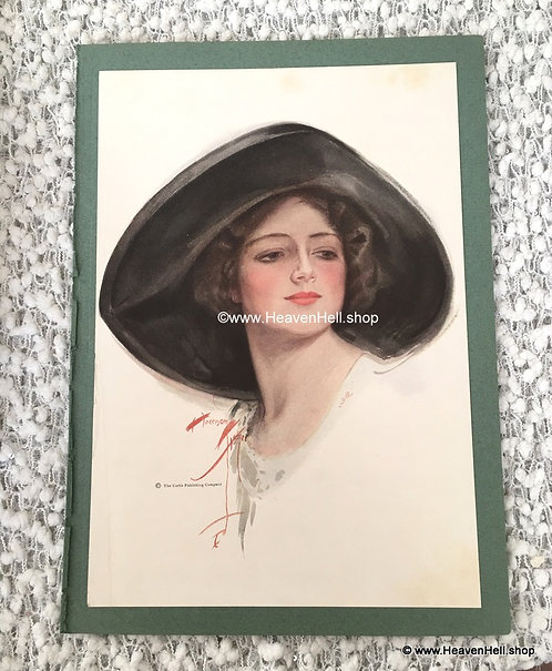 Vintage Harrison Fisher Print Beauty and Value College Girl, Floppy Hat
