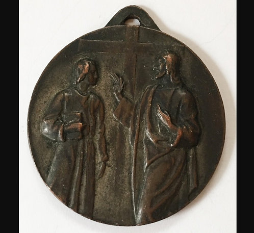 Large Antique Catholic Holy Medal Jesus The Teacher rare Religious Jewelry