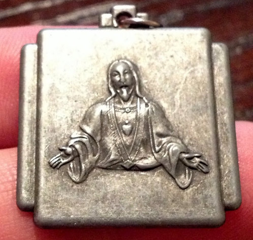 Vintage Religious Jewelry: Sacred Heart Of Jesus Medal Art Deco Pendant