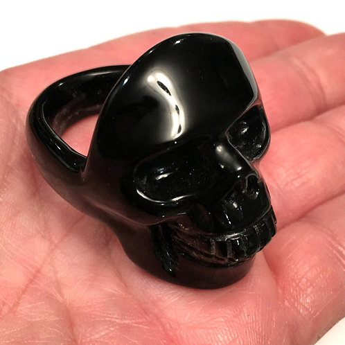Mans Large Solid Black Obsidian Skull Ring - Mens size 14