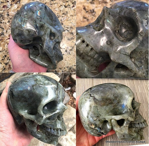 Master Mikelle Psychic Activated Labradorite Skull - Realistic Crystal Sculpture